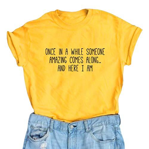 BLACKMYTH Women's Graphic Funny T Shirt Cute Tops Teen Girl Tees Yellow Medium