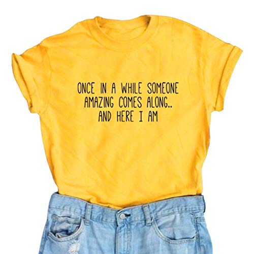 Product Image of the BLACKMYTH Women's Graphic Funny T Shirt Cute Tops Teen Girl Tees Yellow Small