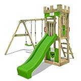 FATMOOSE Parque infantil de madera TreasureTower Top XXL con columpio SuperSwing y tobogán, Torre de escalada da exterior con arenero y escalera para niños