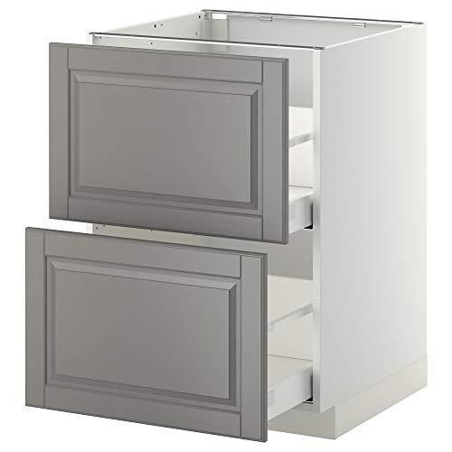 METOD/MAXIMERA Base CB 2 Fronten / 2 hohe Schubladen 60x61.9x88cm weiß/bodbyn grau