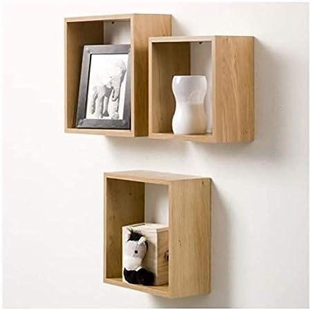 Kasahome Set 3 Mensole Cubo Noce da Parete Pensili Pensile Mobili Modulo Cubi a Muro Arredo casa Arredamento in Legno