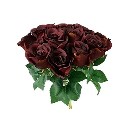 Admired By Nature GPB265-BURG 14 Stems of Blossoms Rose Bush Burgundy Piece