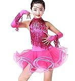 ZYLL Conjuntos de Baile Latino para niñas Vestido Disfraces de Baile Rumba Salsa Fiesta de Carnaval Salsa Borla Ropa de Baile,Rosado,S