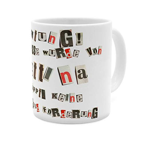 printplanet Tasse mit Namen Bettina - Motiv Ausgeschnittene Buchstaben - Namenstasse, Kaffeebecher, Mug, Becher, Kaffeetasse - Farbe Weiß