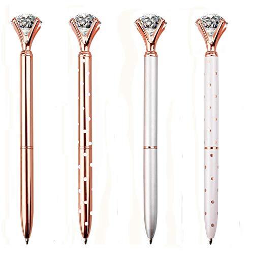 LONGKEY 12PCS Diamond Pens Large Crystal Diamond Ballpoint Pen Bling Metal Ballpoint Pen Office and School, Silver/White Rose Polka Dot/Rose Gold/Rose Gold with White Polka Dots,12Pen Refills. … Photo #4