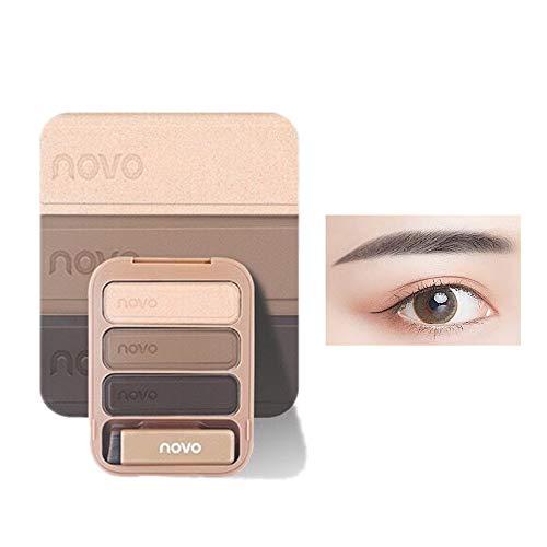 Juego de paleta de polvos para cejas de 3 colores, fácil de colorear, resistente al agua, de larga duración, con pincel y espejo (02# gris marrón)