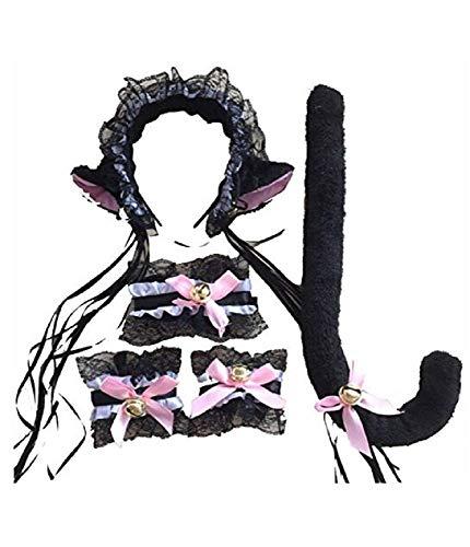 Negro y Rosa - Lote de Gato Gato Sexy - Diadema - Cola - Pulseras - Collar - Disfraz de Carnaval - Halloween - Cosplay - Accesorios - Mujer nia - con sonajeros