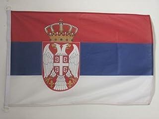 "AZ FLAG علم صربيا 3 ""× 5"" للاستخدام الخارجي - أعلام الصربية 90 × 150 سم - لافتة 3 × 5 أقدام محبوك من البوليستر مع خواتم"