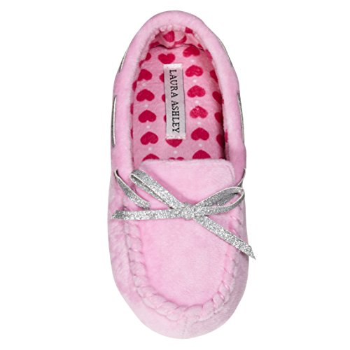 Laura Ashley Kids Girls Fleece Glitter and Bow Moccasins Pink 13/1