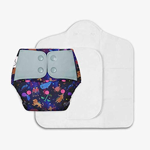 SuperBottoms Freesize UNO - Washable & Reusable Cloth Diaper + 2 Organic Cotton Dry Feel Magic Pads Set [Day & Night Use] (for Babies 5 KG- 17 KG) - Supernova