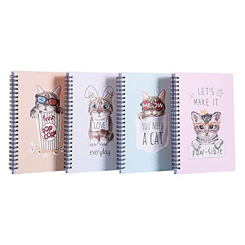 Notizbuch a5 Katze Notizblöcke, Pink Ringblöcke, Spiralblock Notizblock, Gut für Memos, Malen und Graffiti, 80 Blatt / 160 Seiten Heft, 4Pcs Notizbuch Hardcover
