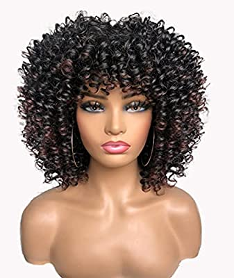 RunM Short Curly Afro Wigs for Black Women Kinky Curly Wig with Bangs
