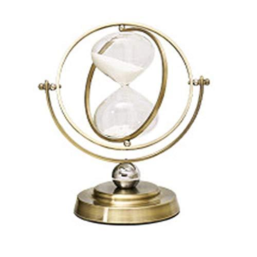 TOOGOO El Reloj de Arena 30 Minutos de Reloj de Arena Giratorio, Temporizador de Arena de Cristal de Hora de Metal para DecoracióN del Hogar Vintage Vidrio de Arena