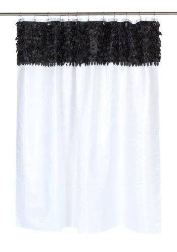 Carnation Home Fashions Duschvorhang Jasmine aus Stoff, Schwarz/Weiß
