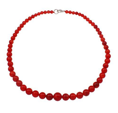 Collana TreasureBay di perle di corallo rosso naturali da 46 cm