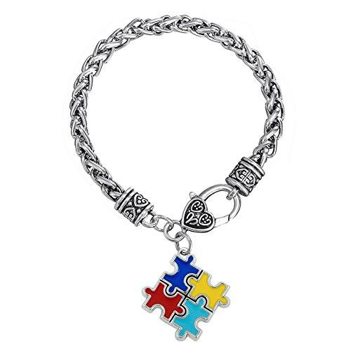 Skyrim pulseras y brazaletes de aleación de zinc esmalte Autismo conciencia Puzzle pieza autista encanto pulsera