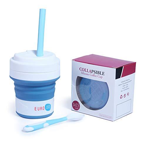 EURODO Taza de Café 450ML para Llevar con Tapa, Pajita y Cuchara - Taza de Viaje Reutilizable Plegable de Silicona - Taza Portátil Cierre Hermético (Azul)