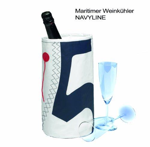 Weinkühler Wine Cooler für eine Flasche Wein Sekt oder Champagner - bester Softweinkühler in maritimem Design für 1 Flasche - Farbe: Weiß - Marineblau mit Trimmfaden - Kühler zum Anhängen Nr. 5