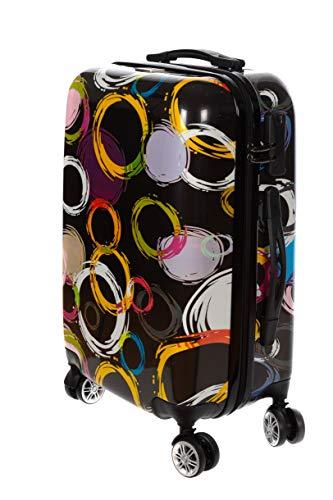 Birendy Reisekoffer Polycarbonat Hartschalen Hardcase Trolley mit Zahlenschloss Koffer Kofferset 4 Rollen einfacher Transport (S89-Schwarz Kreise, Koffer XXL 74x48cm)