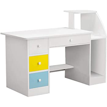Desktop Computer Desk, Home Office Desk Simple Modern Writing Table with 4 Drawers and Storage Shelf (1 Piece, White)