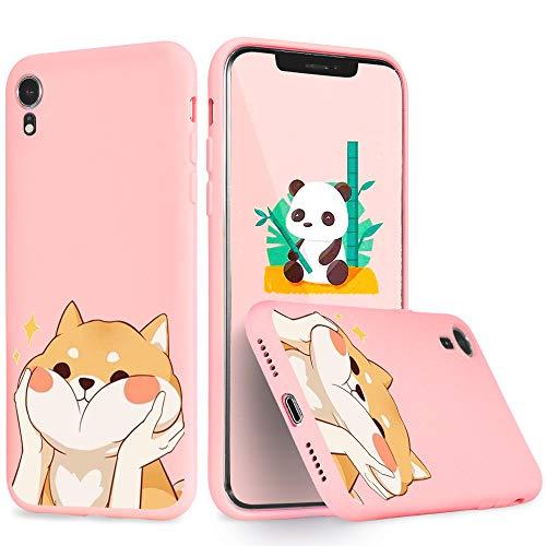 Idocolors Cover per iPhone 6 / 6S Cane Divertente Rosa Silicone Liquido Morbido Custodia con Fodera Tessile Microfibra Antiurto Bumper Protettiva Case