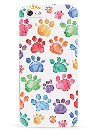 Inspired Cases - 3D Textured iPhone 5/5s/5SE Case - Rubber Bumper Cover - Protective Phone Case for Apple iPhone 5/5s/5SE - Watercolor Paw Prints