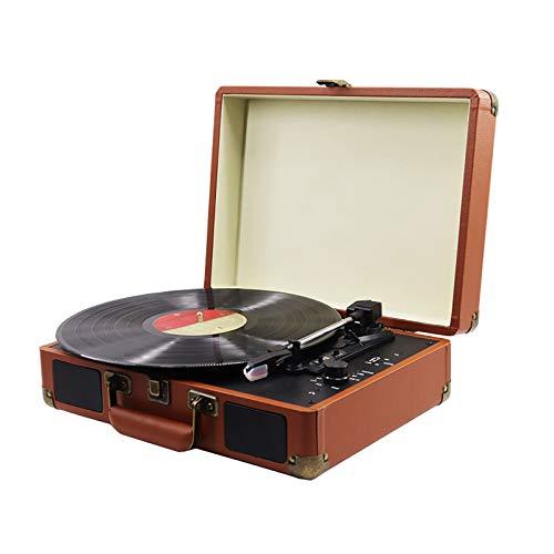 BTTNW Giradischi in Vinile Record Player Vinyl Record Player Phonograph Bluetooth Speaker Bagager Player Vinyl Record Player Ideale per Gli Amici (Colore : Marrone, Size : 35X22.5X13CM)