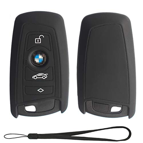 Velsman Compatible with BMW Trapezoid Style Key FOB - 3 Buttons Silicone Case Cover Protector Holder and Wrist Strap (Black)