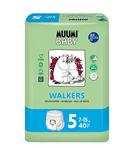 Pañales braguita o calzoncillo ecológicos Muumi Baby, talla 5, 10-15 KG, 40 pañales sensibilidad premium
