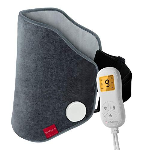 Almohadilla calefactora mejorada para alivio del dolor de espalda, Comfytemp XL eléctrica con correa, 9 ajustes de calor, 5 apagado automático, permanecer encendido, luz de fondo para calambres, cintura, lumbar, abdomen, 15 x 24 pulgadas, lavable