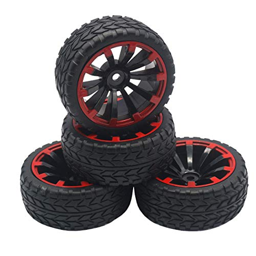 4Pack ShareGoo OD 2.55' 12mm Hex Wheel Rims & Rubber Tires Set Compatible with HSP Redcat HPI Tamiya...