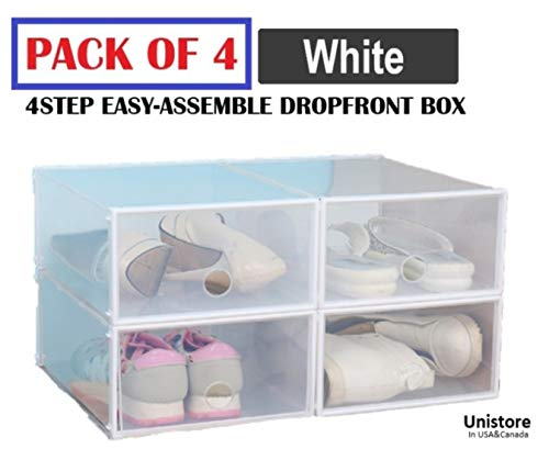 """[2020 Edition] Unistore SB21 Stackable Dropfront easy assemble clear plastic Drawer/Shoe box. Easy DIY storage solution for clean organization.[4 Packs] 13""""x10""""x5"""", quart/654 cubic inches-(White)"""