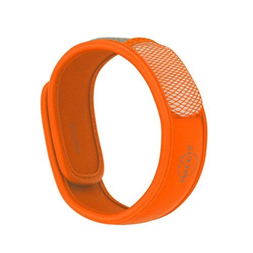 PARA'KITO Mosquito Insect & Bug Repellent Wristband - Waterproof, Outdoor Pest Repeller Bracelet w/Natural Essential Oils (Orange)