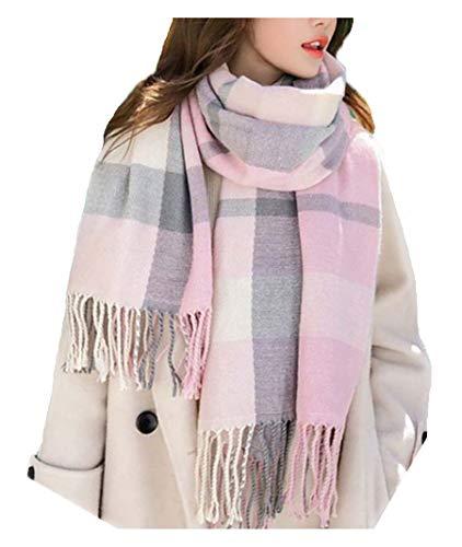 Wander Agio Women#039s Fashion Scarves Long Shawl Winter Thick Warm Knit Large Plaid Scarf Pink Grey 2