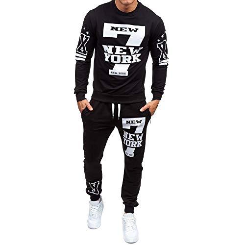 DEELIN Moda De Los Hombres Casual New York Printed Jersey Sudadera con Capucha Sudaderas con Capucha De Lazo Sudaderas Pantalones Juegos Deportivos CháNdal Traje