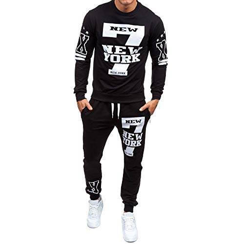 OSYARD Herren Jogginganzug Tracksuit Freizeitanzug, Männer Herbst Winter Brief Drucken Sweatshirt + Sporthose Sets Sportanzug Trainingsanzug,Lose Sportlich Tops Blusen Shirt + Sweatpants Fitnesshose