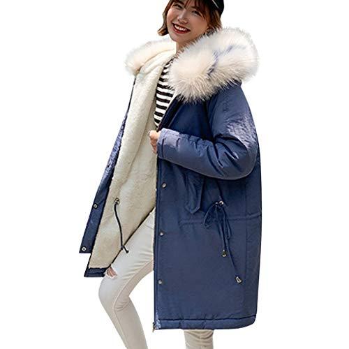 ZHANSANFM Winterjacke Damen Kunstpelz Fleecejacke Verdickte Warme Winter Parka Lange Jacke mit Plüsch Kapuze Oversize Wollmantel Winddicht Vintage Steppjacke Baumwolljacke (XL, Blau)