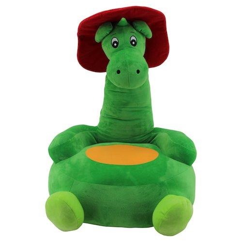 Sweety Toys 10035 GRISU pluche zitkussen kinderen baby zitzak kruk draak brandweermaskotje - 2-in-1 product: zitkussen en stekkerpaard