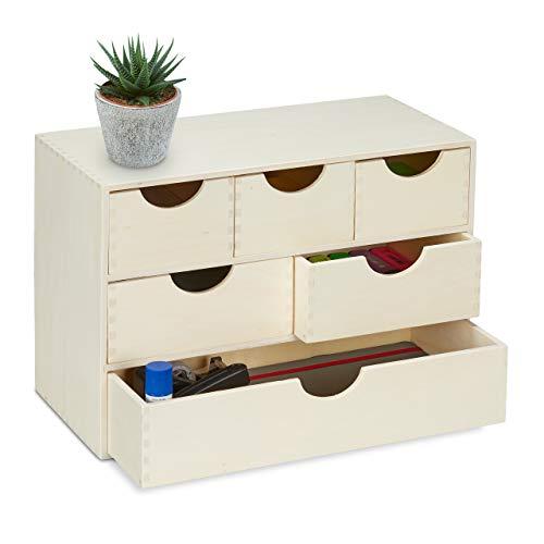 Relaxdays Schubladenbox Holz, HBT: 28 x 40 x 20 cm, Kleinutensilien Aufbewahrung, zum selbst Gestalten, 6 Fächer, natur