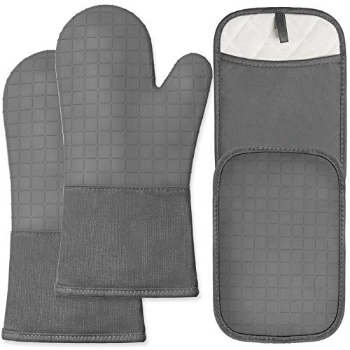 HOMWE Silicone Oven Mitts and Pot Holders with Pockets, 4-Piece Set Cooking Gloves, Steam and Heat...