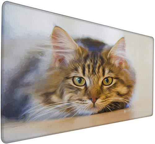 Alfombrilla de ratón para juegos grande Lindo gato animal animal creativo pintura al óleo estilo grande alfombrilla de ratón XXL mapa del mundo alfombrilla de ratón 900x400x3mm