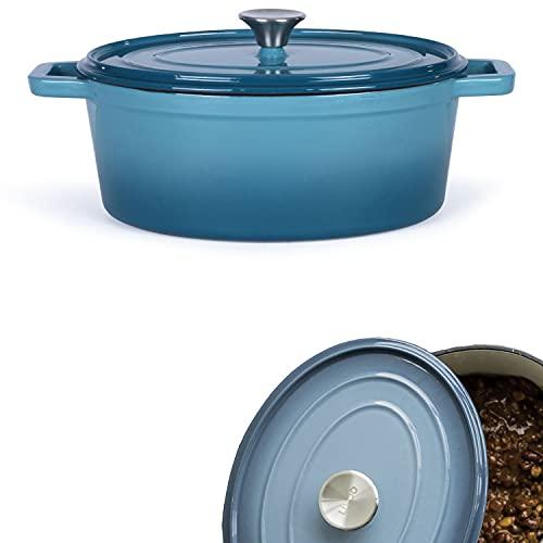 Cocotte ovale en fonte émaillée - Marmite avec...
