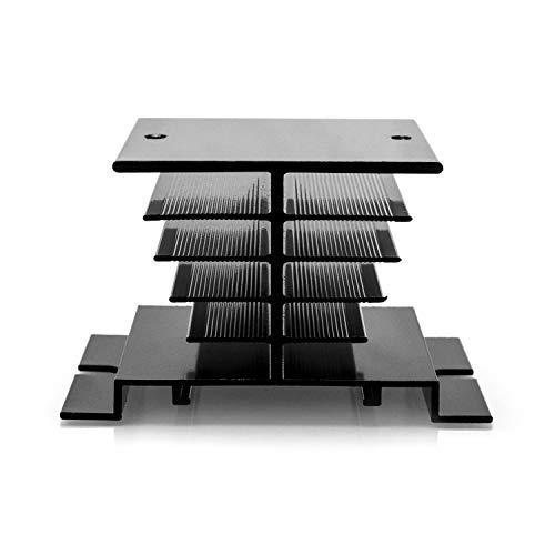 QWORK Einphasiges Solid State Relais aus Aluminium für SSR-10A , 25A , 40A , Schwarz , 2 Stück