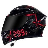 Casco de Motocicleta Integrado Bluetooth,Cascos modulares de Moto de Visera Doble con Visera Completa para Hombres y Mujeres Adultos Certificación ECE C,XXXL