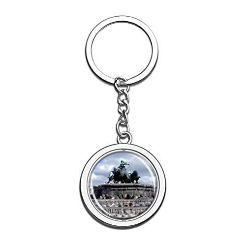 Dänemark Gefion Brunnen Kopenhagen Schlüsselanhänger Souvenir Spin Kristall Metall Edelstahl Kette City Travel Geschenk