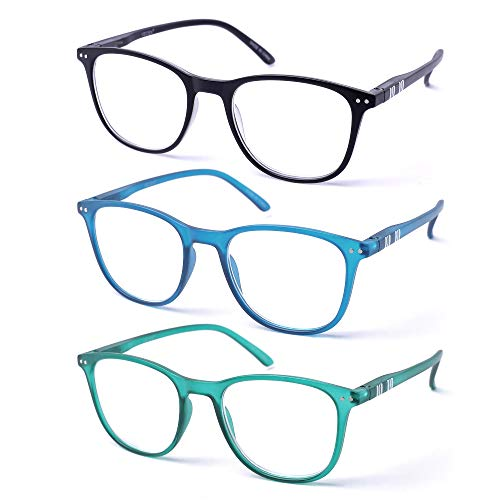 VECIEN Vintage Lesebrille, 3er-Pack Crystal Clear Vision, wann immer Sie es brauchen! Spring Hinges Pattern Design für Herren & Damen (2.5)