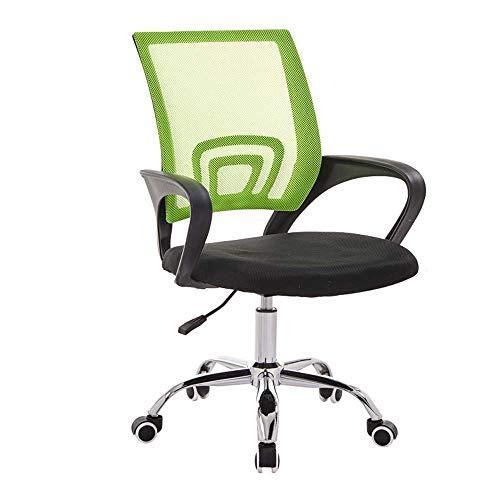 HJJK Sillas de ocio silla giratoria de oficina, silla del personal de escritorio Silla Silla de ordenador transpirable respaldo ajustable Altura durable fuerte, Tamaño: Marco Negro, Color: Verde