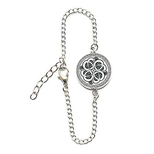 Pulsera de regla de geometría sagrada hecha a mano celta patrón redondo brazalete de cristal pulsera de alta calidad hombres y mujeres regalo joyería-#345