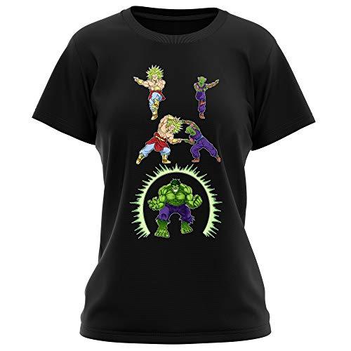 Okiwoki T-Shirt Femme Noir DBZ, l'incroyable Hulk parodique Piccolo, Broly et Hulk : Les origines de la Puissance. (Parodie DBZ, l'incroyable Hulk)