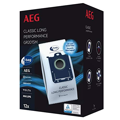 AEG GR201SM s-bag Staubbeutel Classic Long Performance MegaPack (12 Synthetik Staubsaugerbeutel für dauerhaft hohe Saugleistung, optimale Filtration, Hygieneverschluss, 60% mehr Saugkraft, weiß)